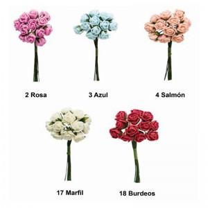 Flor Rosas Pomos Ramito Pack 12