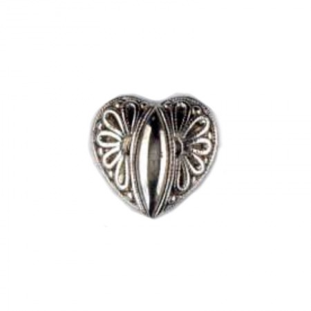 BOTON  CORAZON PLATA 20mm PACK 20
